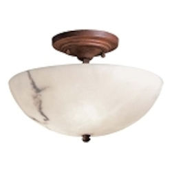"Calavera Collection 3-Light 11"" Nutmeg Semi-Flush with Alabaster Dust Shades 686-14"