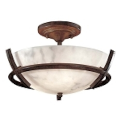 "Calavera Collection 3-Light 14"" Nutmeg Semi-Flush with Alabaster Dust Shades 687-14"