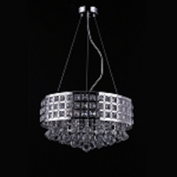 5 Light Round Crystal Pendant Light in Chrome Finish with Clear Crystal - Joshua Marshal 700060-001