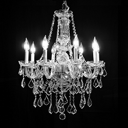 "Victorian Design 8-Light 27""  Chrome Chandelier with European or Swarovski Crystal SKU# 10509"