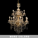 "Victorian Design 12-Light 43"" Gold or Chrome Chandelier with European or Swarovski Crystal SKU# 10510"