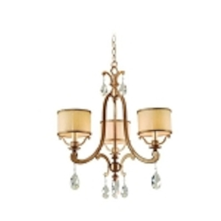 "Roma Collection 3-Light 22"" Antique Roman Silver Mini Chandelier with Cream Ice Glass and Crystal Accents 71-03"