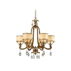 "Roma Collection 6-Light 28"" Antique Roman Silver Chandelier with Cream Ice Glass and Crystal Accents 71-06"