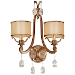 "Roma Collection 2-Light 16"" Antique Roman Silver Wall Sconce with Cream Ice Glass and Crystal Accents 71-12"
