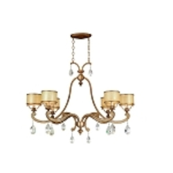 "Roma Collection 6-Light 43"" Antique Roman Silver Island Light with Cream Ice Glass and Crystal Accents 71-56"