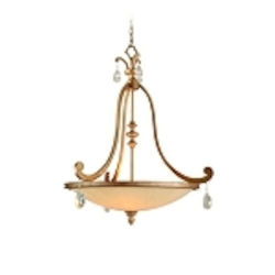 "Roma Collection 4-Light 33"" Antique Roman Silver Pendant with Cream Ice Glass and Crystal Accents 71-74"