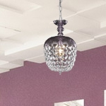 "Rococo Collection 1-Light 13"" Purple Mini Crystal Pendant Chandelier 7801D8PE/RC"