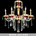 "Victorian Design 6-Light 27"" Gold with Red, Green, or Blue Chandelier with European or Swarovski Crystals SKU# 10513"