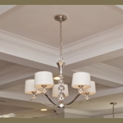 "Rondo Collection 5-Light 21"" Polished Nickel Chandelier with White Fabric Shades 12755WTPN"