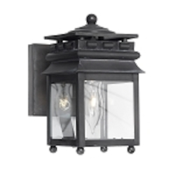 "Lancaster Collection 1-Light 7"" Charcoal Wall Lantern with Water Glass 801-C"