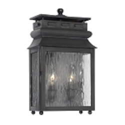 "Lancaster Collection 2-Light 16"" Charcoal Wall Lantern with Water Glass 802-C"