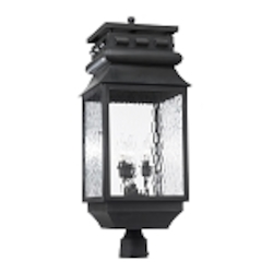 "Lancaster Collection 3-Light 29"" Charcoal Post Lantern with Water Glass 803-C"