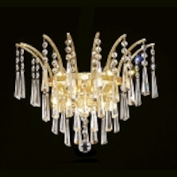 "Flamingo Design 3-Light 16"" Gold or Chrome Wall Sconce with European or Swarovski Crystals SKU# 10544"
