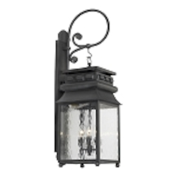 "Lancaster Collection 3-Light 35"" Charcoal Wall Lantern with Water Glass 806-C"