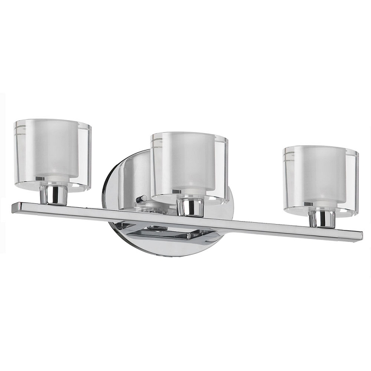 Haley Collection 3 Light 16 Polished Chrome Bathroom Vanity Fixture With Clear Frosted Oval