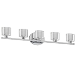 "Haley Collection 5-Light 29"" Polished Chrome Bathroom Vanity Fixture with Clear/Frosted Oval Glass 809-5W-PC"