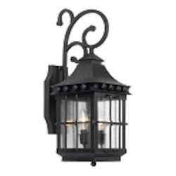 "Taos Collection 2-Light 21"" Espresso Wall Lantern with Seeded Glass 8450-E"