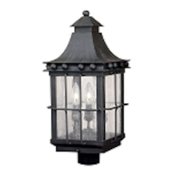 "Taos Collection 3-Light 23"" Espresso Post Lantern with Seeded Glass 8453-E"