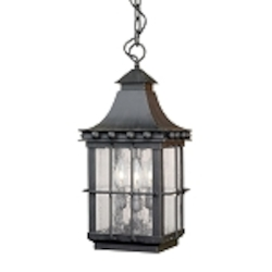 "Taos Collection 3-Light 21"" Espresso Hanging Lantern with Seeded Glass 8454-E"
