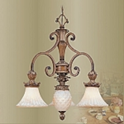 Savannah Collection 3-Light 25 1/2'' Venetian Patina Chandelier 8473-57