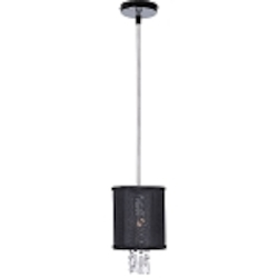 "Shaded Light Design 1 Light 6"" 30% Lead Crystal Mini Pendant or Ceiling Mount Fixture with Black Organza Silk Drum Shade SKU* 105863"
