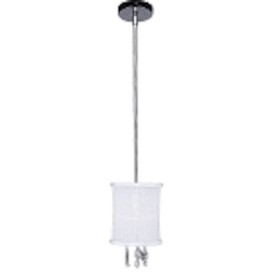 "Shaded Light Design 1 Light 6"" 30% Lead Crystal Mini Pendant or Ceiling Mount Fixture with White Organza Silk Drum Shade SKU* 105861"
