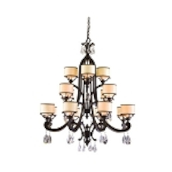 "Roma Collection 16-Light 48"" Classic Roman Chandelier with Cream Ice Glass and Crystal Accents 86-016"