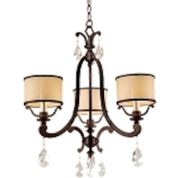 "Roma Collection 3-Light 22"" Classic Roman Mini Chandelier with Cream Ice Glass and Crystal Accents 86-03"