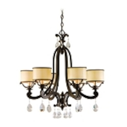 "Roma Collection 6-Light 28"" Classic Roman Chandelier with Cream Ice Glass and Crystal Accents 86-06"