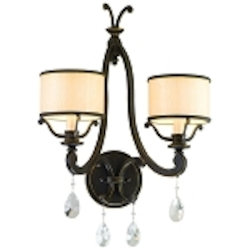 "Roma Collection 2-Light 16"" Classic Roman Wall Sconce with Cream Ice Glass and Crystal Accents 86-12"