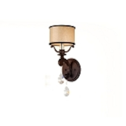 "Roma Collection 1-Light 6"" Classic Roman Wall Sconce with Cream Ice Glass and Crystal Accents 86-61"