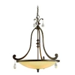 "Roma Collection 4-Light 33"" Classic Roman Pendant with Cream Ice Glass and Crystal Accents 86-74"