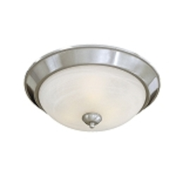 "Paradox Collection 3-Light 15"" Brushed Nickel Flush with Etched Marble Glass 893-84"