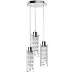 "Cynthia 3-Light 24"" Crystal Multi-Pendant with a Polished Chrome Finish and Clear Glass Shades 90623-12R-PC"