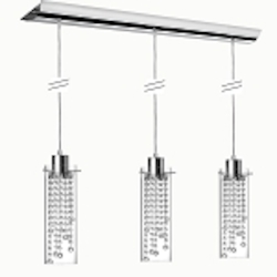 "Cynthia 3-Light 35"" Crystal Linear Pendant with a Polished Chrome Finish and Clear Glass Shades 90623P-PC"