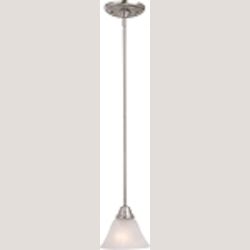 "Basix Collection 1-Light 6"" Satin Nickel Mini Pendant with Marble Glass 91064MRSN"