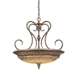 "Raffine Collection 3-Light 24"" Raffine Aged Patina Pendant with Toned Spumanti Strato Glass 967-243"
