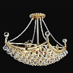 4 & 6 Corner Design 6-Light 24'' Gold or Chrome Chandelier Dressed with European or Swarovski Crystals SKU# 10624