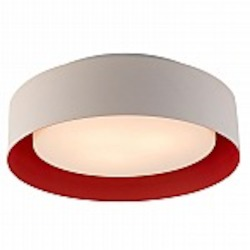 Lynch White & Red Drum Flush Mount - B4101