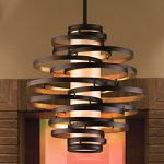 "Vertigo Collection 4-Light 30"" Bronze with Gold Leaf Pendant with Caramel Ice Diffuser 113-44"