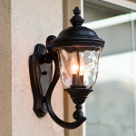 "Carriage House VX Collection 2-Light 20"" Oriental Bronze Outdoor Wall Lantern with Water Glass 40423WGOB"