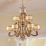 "Roma Collection 9-Light 35"" Antique Roman Silver Chandelier with Cream Ice Glass and Crystal Accents 71-09"
