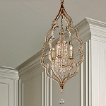 "Bijoux Collection 4-Light 44"" Silver Leaf with Antique Mist Crystal Chandelier 161-44"