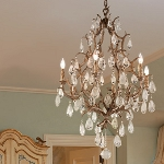 "Amadeus Collection 6-Light 28"" Vienna Bronze Chandelier with Italian Glass Drops 163-06"