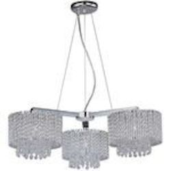 "Spiral Collection 3-Light 27"" Polished Chrome Crystal Chandelier E23139-10PC"