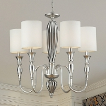 "Martique Collection 5-Light 25"" Silver Leaf Chandelier With Chrome Plated Glass And Textured White Linen Shades 46034/5"