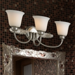 "Ventura Collection 3-Light 24"" Brushed Nickel Bathroom Vanity Fixture with Opal Glass 11435/3"