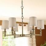 "Baxter Collection 6-Light 29"" Brushed Antique Brass Chandelier with Beige Shades 31266/6"