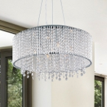 "Spiral Collection 10-Light 22"" Wide Polished Chrome Crystal Pendant E23137-10PC"
