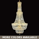 "Invisible Design 34-Light 56"" Chrome or Gold Foyer Chandelier with European or Swarovski Crystals SKU# 10396"